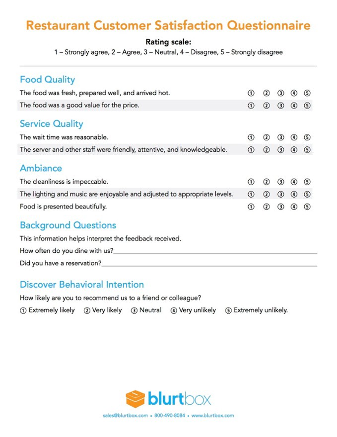 restaurant surveys templates