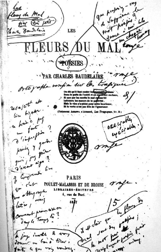 "Front piece of the first edition of ""Fleurs du mal"" by Charles Baudelaire in 1857"
