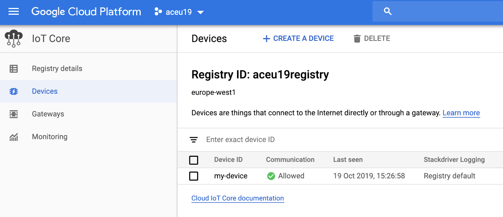 My device is registered in my device registry