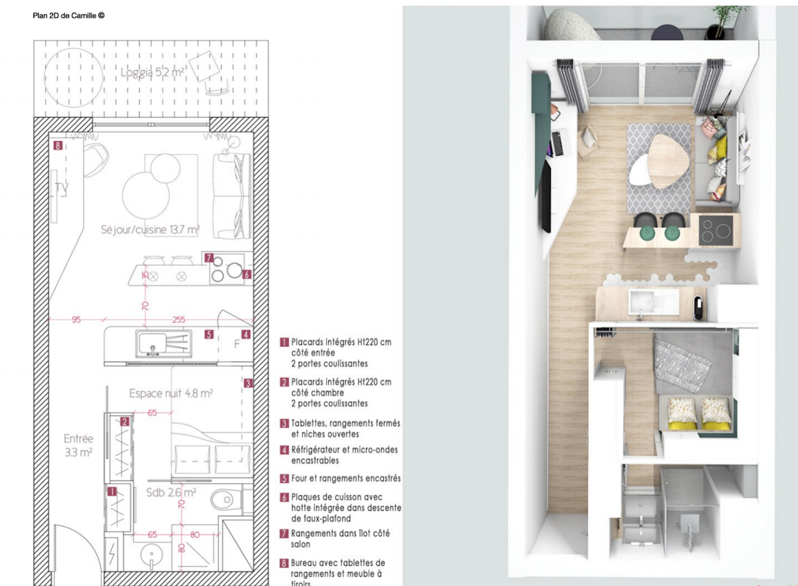 Avant apr s am nagement d un studio de 25m2 destin la location for Plan amenagement studio 25m2