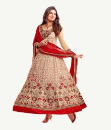 Sanix Trends Red & Cream Faux Georgette Anarkali Dress Material
