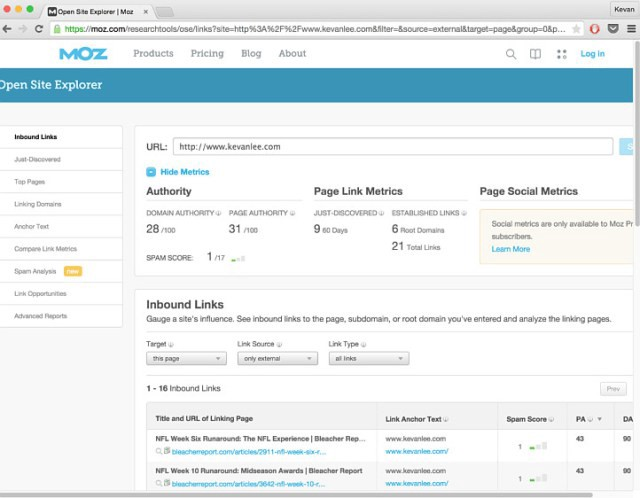 Open Site Explorer is a great free tool for checking your domain and page authority