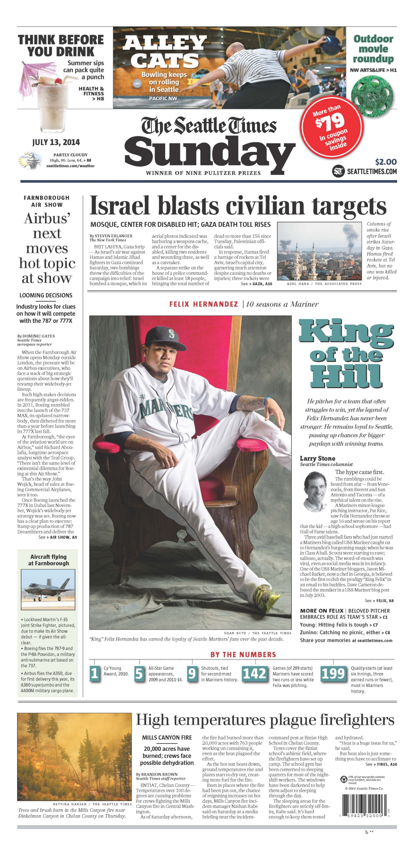 King of the Hill — Sunday Seattle Times Features Felix Hernandez