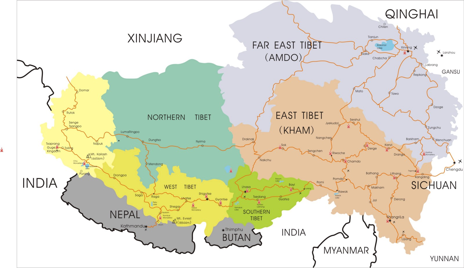 Plateau Of Tibet On Map Of Asia.Tibet Maps Attractions Cities And Transportation In China