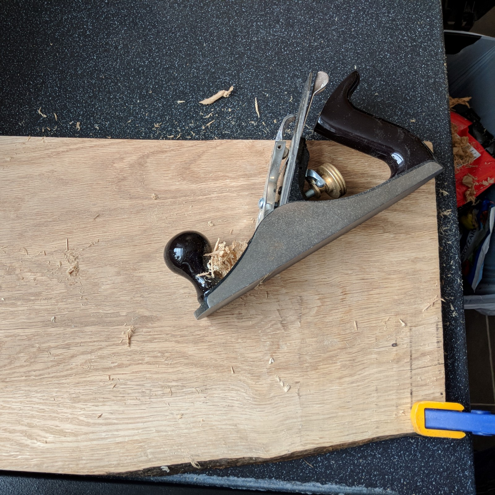 Making a Chopping Board - Flattening the board by hand.