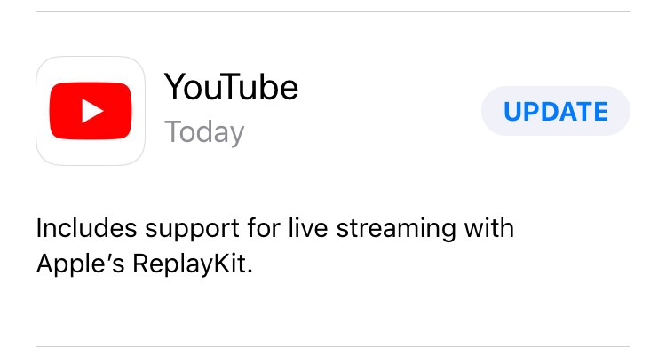 Youtube app for iOS gets ReplayKit