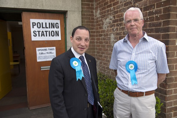 Dan Cohen (left) and Neil Buckley (right), Conservative councillors for Alwoodly ward in North Leeds, at the Moor Allerton polling office during local council elections 5 May 2016.
