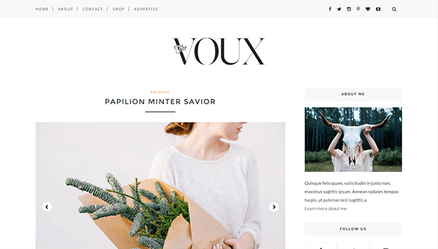 voux minimal responsive blogger template free instant download