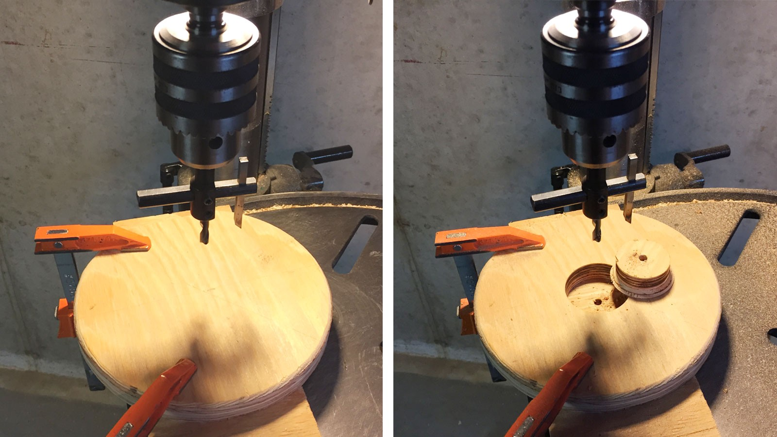 The plywood disc: Before, left, and after. This circle of wood was the result of a failed table-saw-circle-cutting experiment. The shape made it tricky to ...