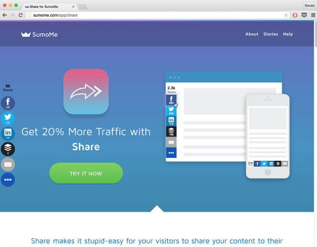 SumoMe Share gives you a lot of control over the appearance of the share buttons