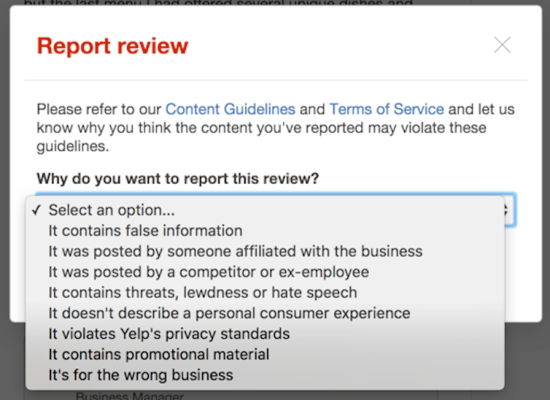 report yelp review