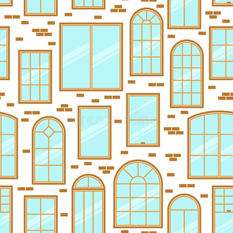 Vector Seamless Pattern Of Diffe Types Windows Flat Style Stock Ilration