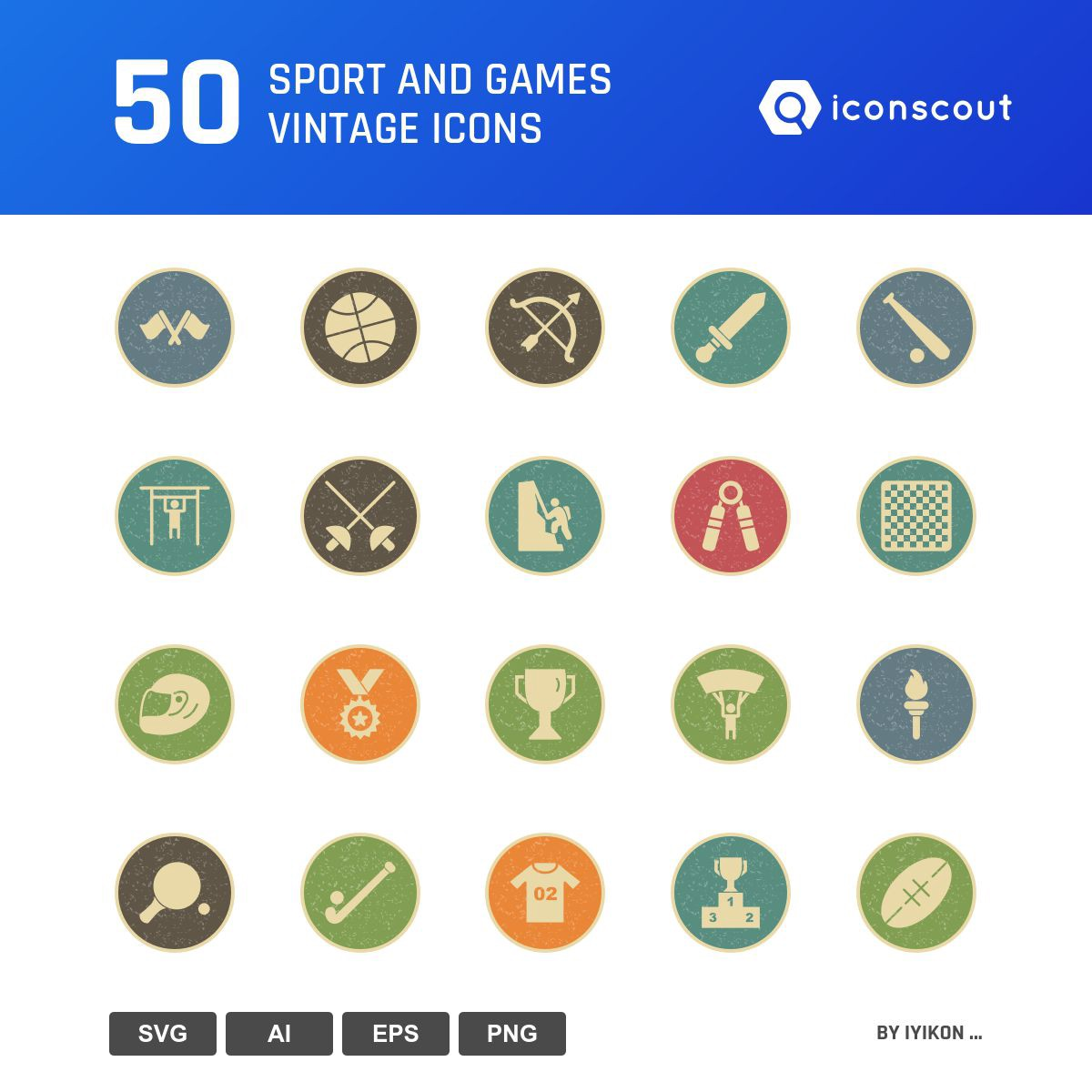 Sport And Games Vintage icons by IYIKON ...