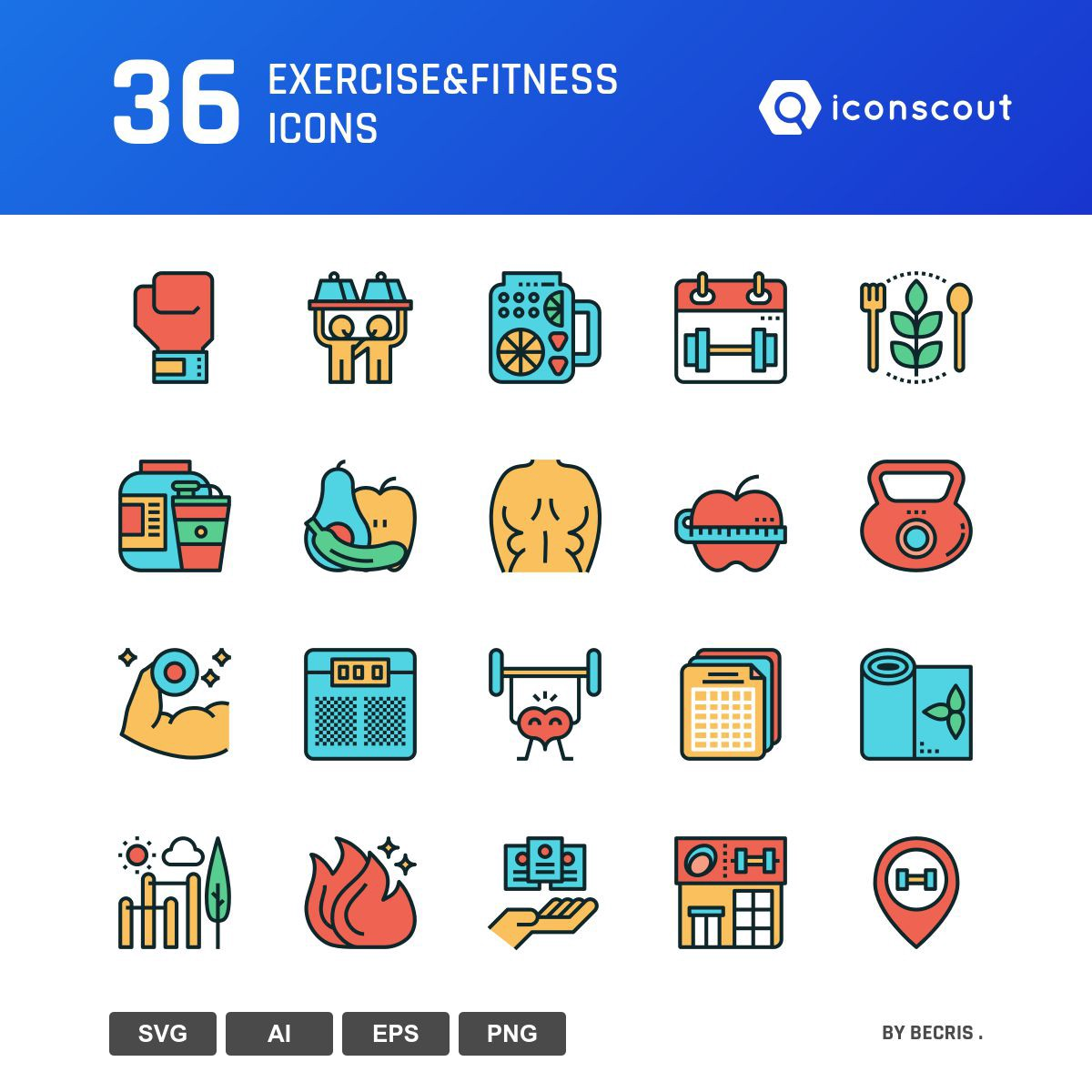 Exercise&Fitness icons by Becris .