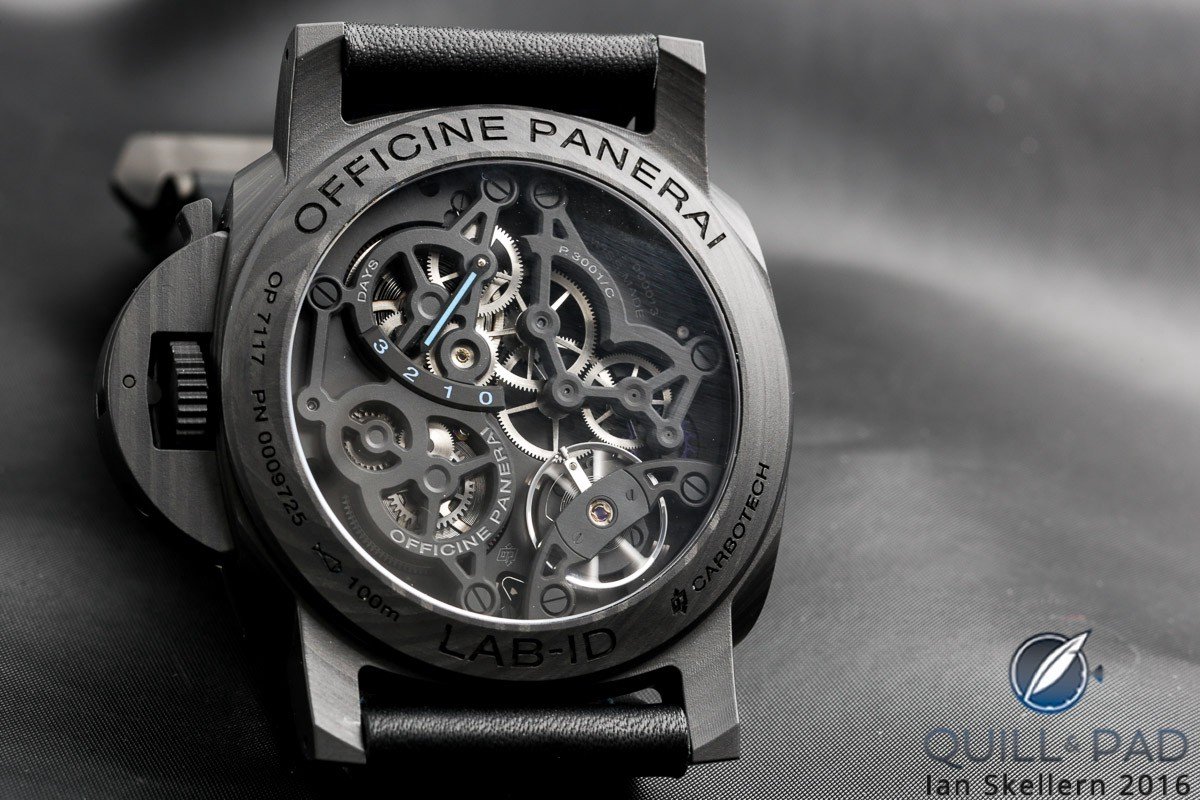 View through the display back of the Panerai LAB-ID Luminor Carbotech