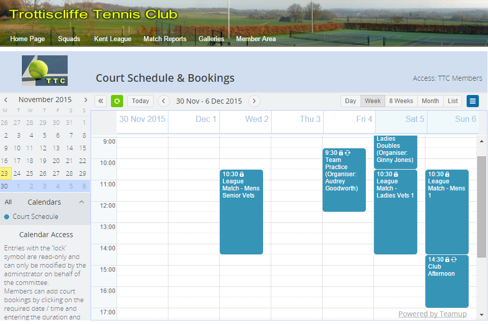 Tennis court booking with Teamup Calendar