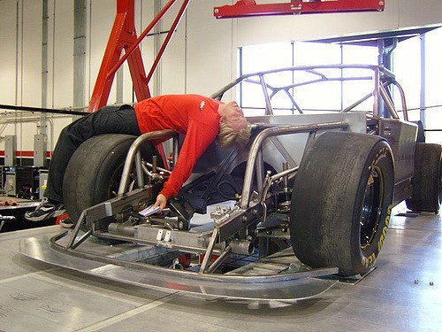 Taking a rest on kinematics rig, Andromeda style, at the Robby Gordon NASCAR shop in2007.