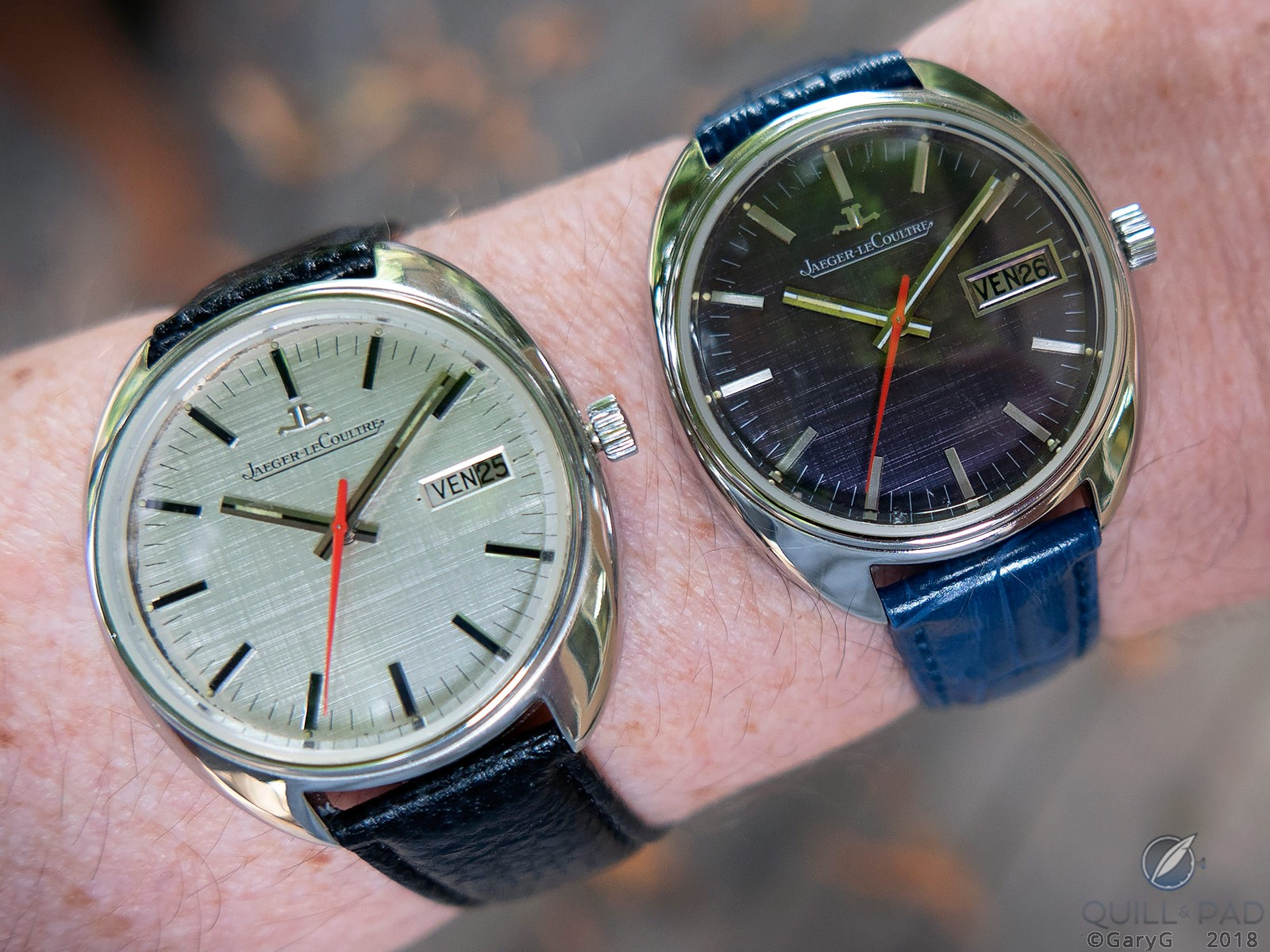 On the wrist: two prototype Caliber 906 watches from Jaeger-LeCoultre