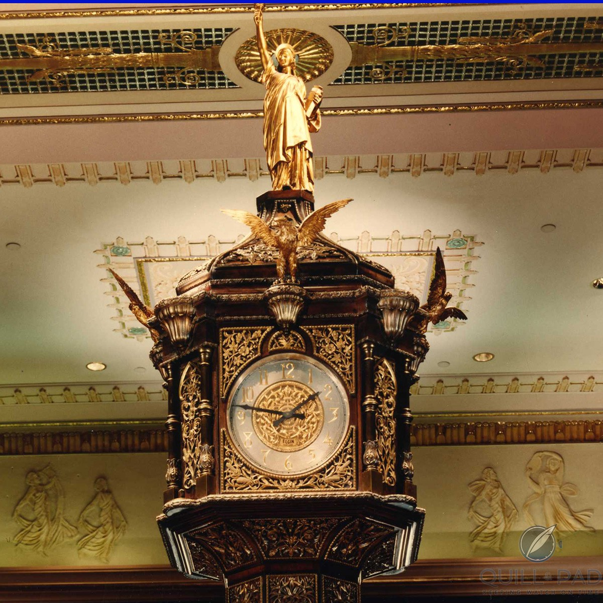 Statue of Lady Liberty on top of the clock in the lobby of the Waldorf Astoria hotel in New York
