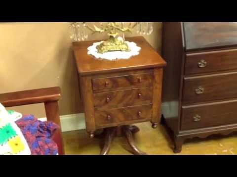 ANTIQUE FURNITURE, 1840S THREE DRAWER WORK TABLE WITH BURLE WOOD & CLAW FEET