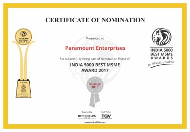 India 5000 Best MSME Award - Paramount Enterprises - PARENTNashik
