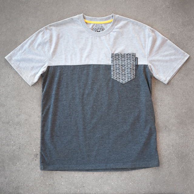 113e5260d Custom Cut and Sew Pocket Tee Featuring Woven Label and Graphic, Produced  for Anthem Branding