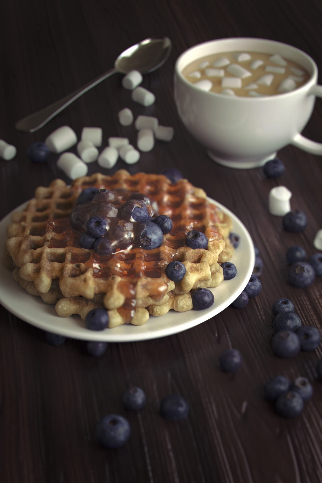 "Photorealistic ""Blueberry Waffles"" by Brian Lesiangi"