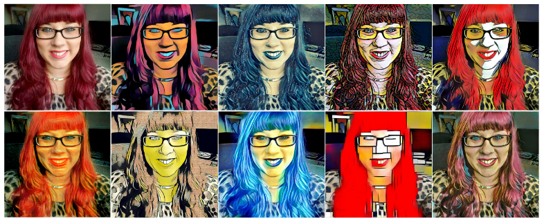 A selfie of me, with 9 different artistic styles applied