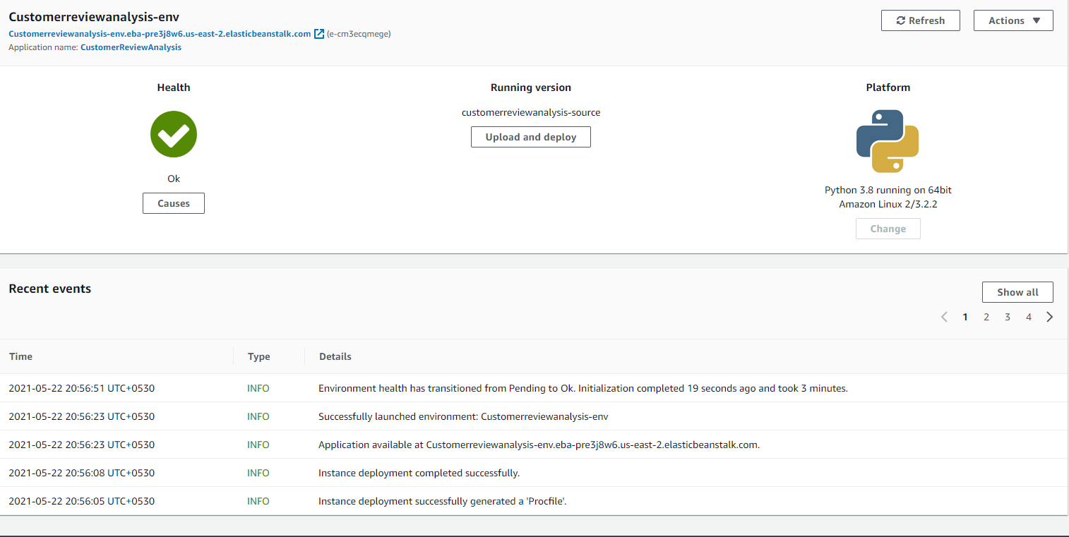 Deploying the Application Customer Review Analysis