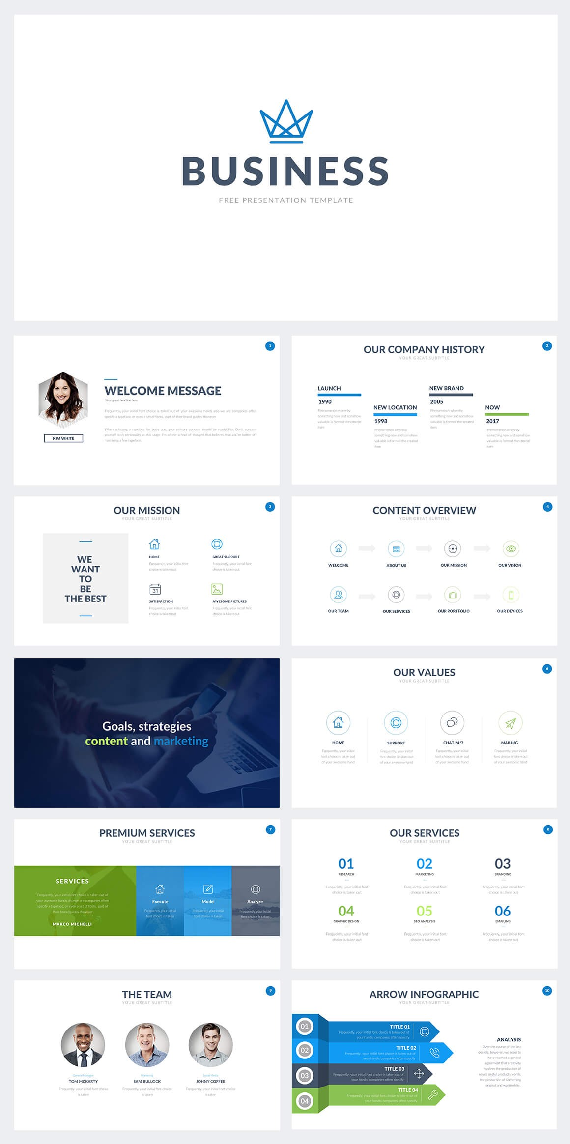 this business ppt template is great to show your companies values missions history and services take advantage of this free perfect business ppt