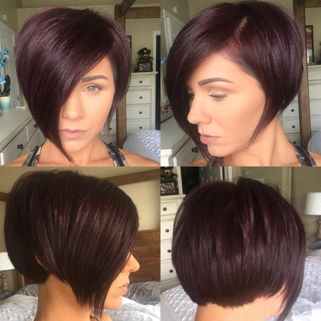 pixie haircuts for burgundy asymmetrical pixie bob with side swept bangs and 4348