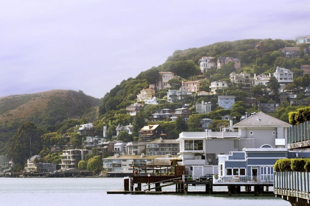 Sausalito, California with fog coming rolling in along San Francisco Bay.
