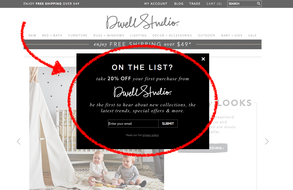 dwell studio email popup