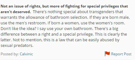 A comment for the law towards using bathrooms by birth gender. Debate.org