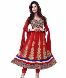 Prafful Red Embroidered Faux Georgette Unstitched Suit With Dupatta