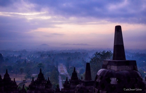 Borobudur Sunrise with some Clouds, Indonesia