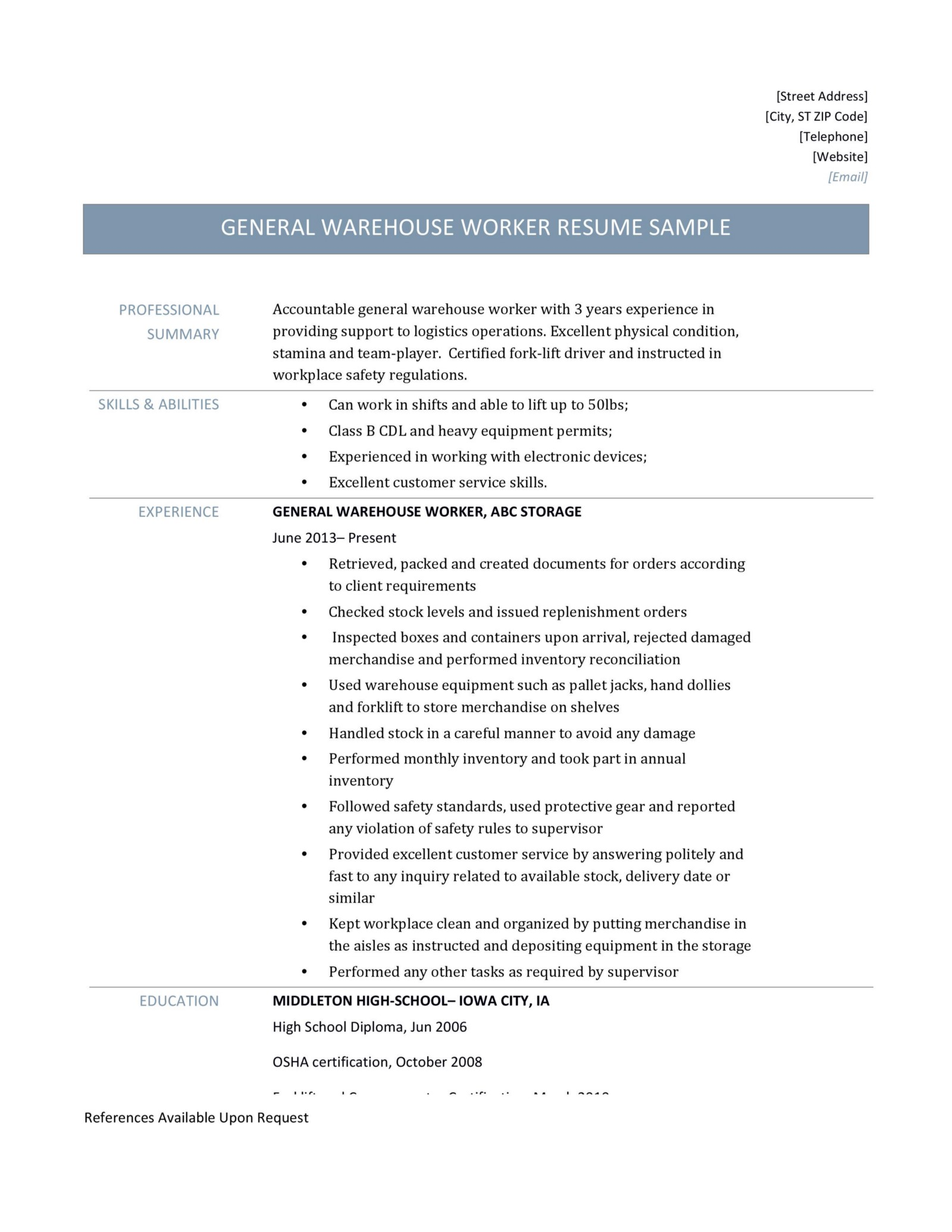 General Warehouse Worker resume-page-001