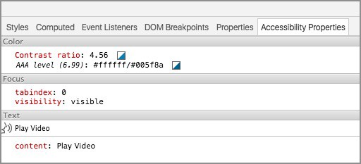 Screenshot of Chrome DevTools Existing Accessibility Properties List