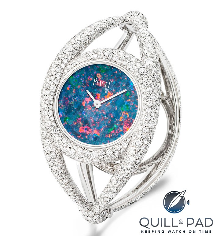 Piaget white gold opal cuff watch snow set with 1,699 brilliant-cut diamonds from 2014