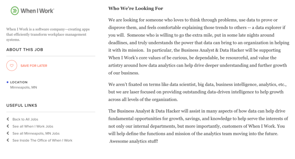 Not All Jobs Are In San Francisco Check Out This Job Listed On The Muse By When I Work For A Business Yst And Data Hacker