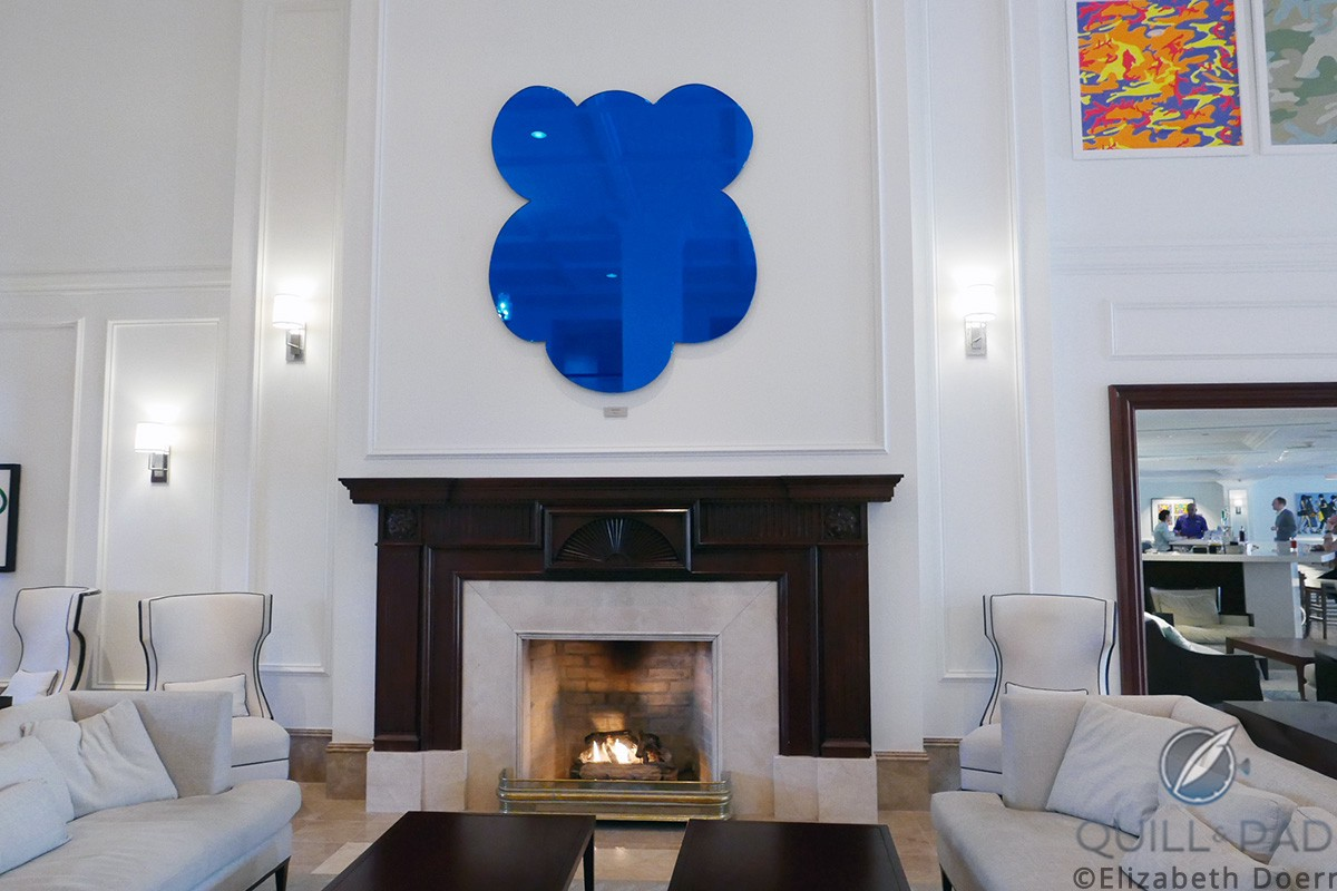 'Monkey (Blue)' by Jeff Koons hangs over the main fireplace at the Hamilton Princess & Beach Club in Bermuda
