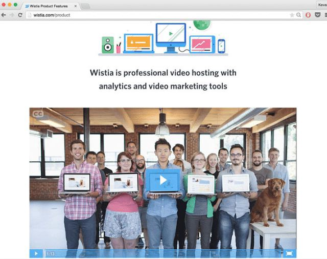 Wistia is made for marketers' videos because the player keeps people on your page
