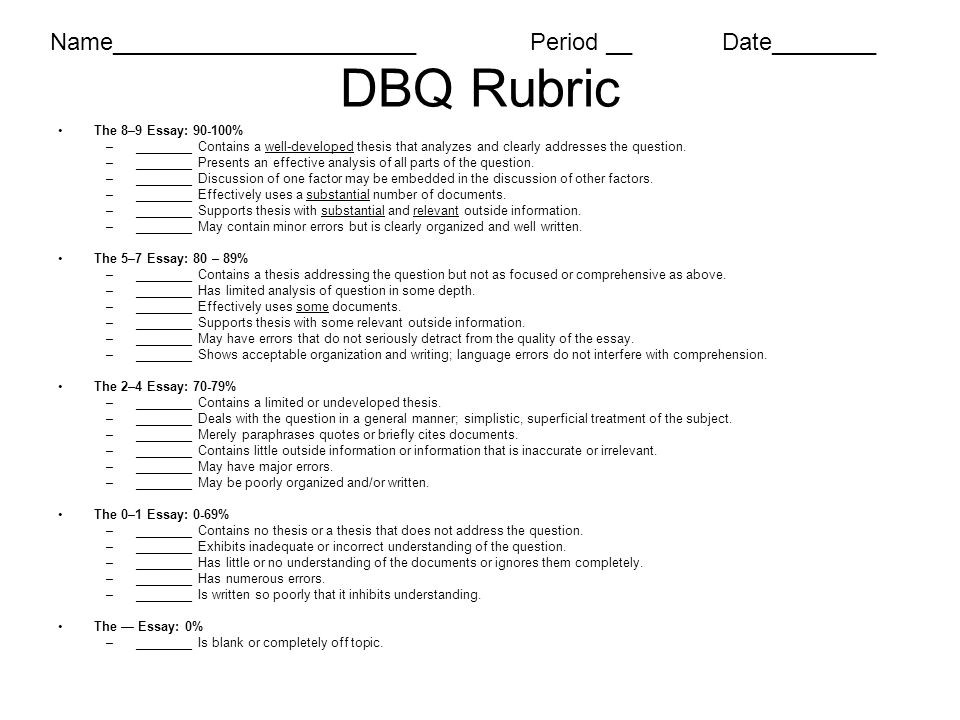 apush dbq essay rubric