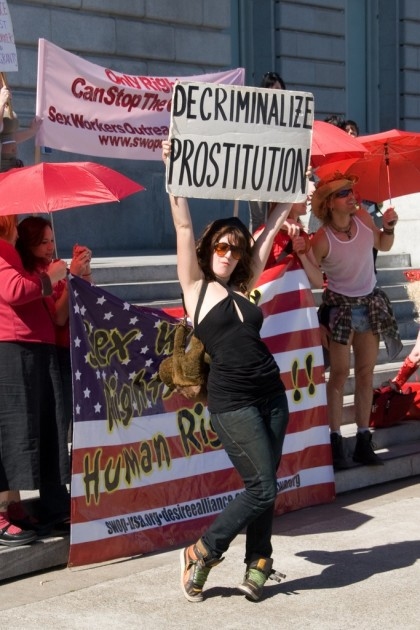Sex worker protesters at San Francisco's City Hall (Credit: Ellya/Flickr)