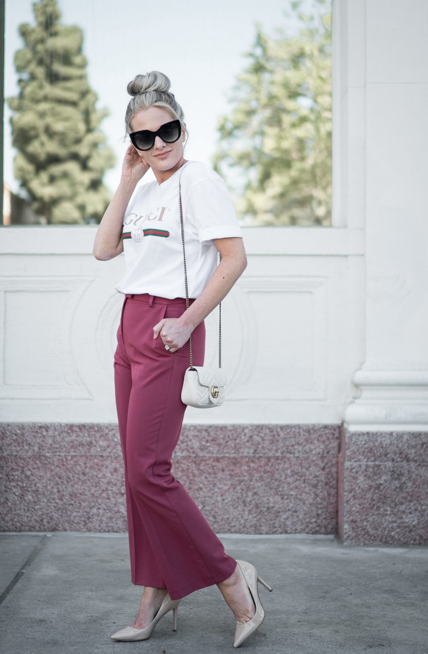A Gucci Logo Shirt and Other Must Have Gucci Dupes styled by popular Orange County fashion blogger, Dress Me Blonde