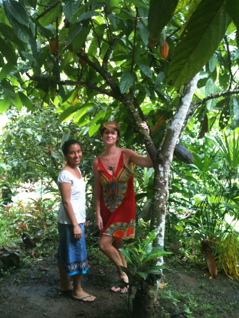Under a Cacao tree with one of my Cacao suppliers in Costa Rica