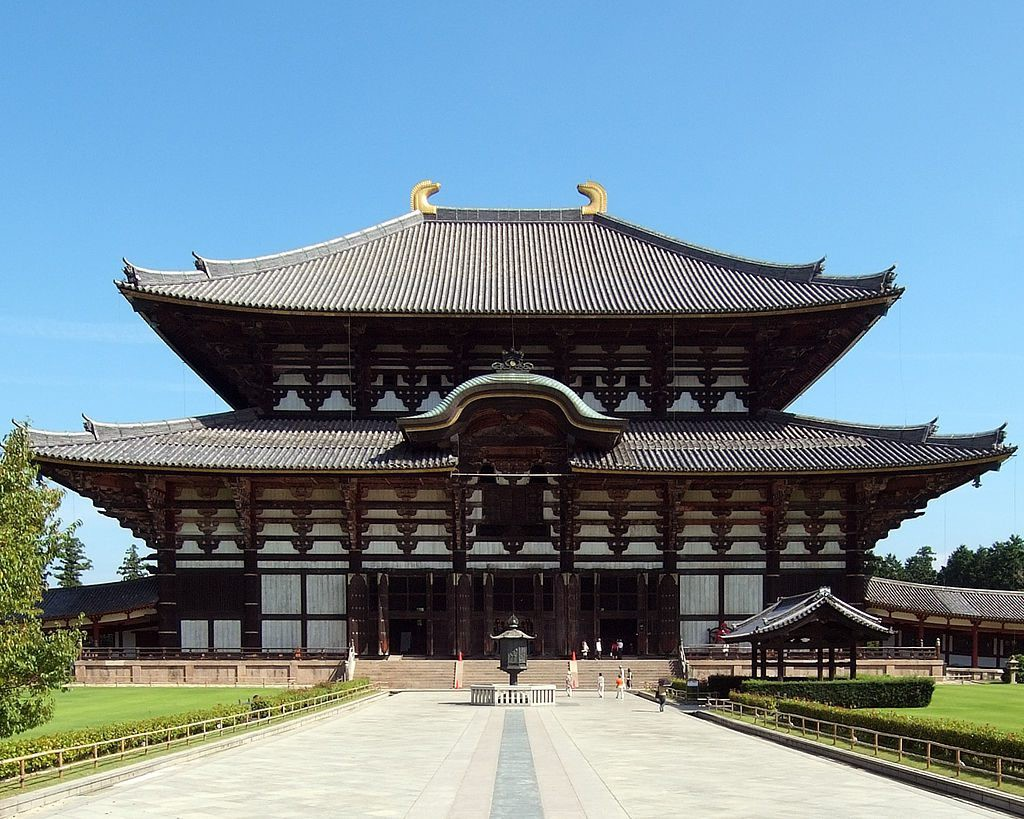 Todai-ji, the hall of the Great Buddha in Nara registered as the world heritage