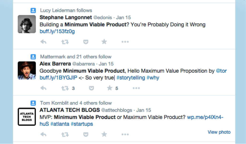 Tweets about Minimal Viable Product