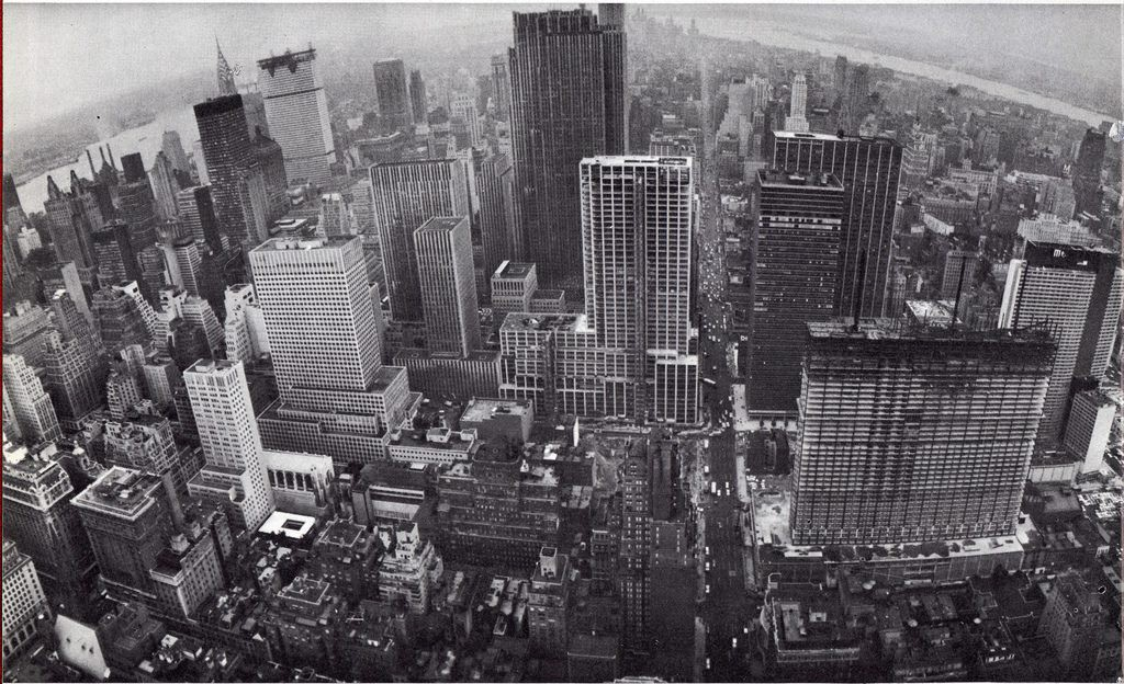 Aerial view of Midtwon Manhattan looking south. September 1962.