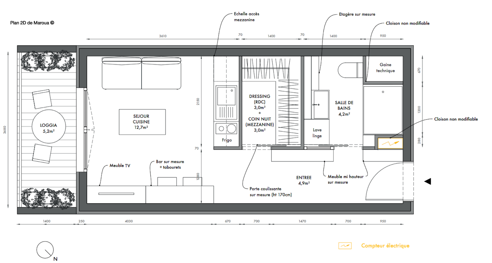 awesome plan amenagement studio 25m2 photos